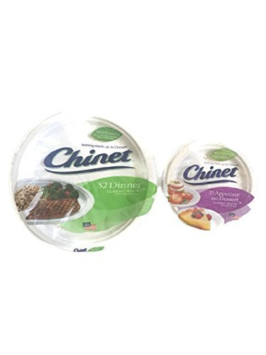 Chinet Classic White Paper Plate Bundle, Large and Small, Dinner (32 ct) and Appetizer/Dessert (35 ct) (Appetizer Plates Paper)
