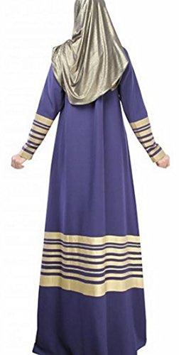 Jaycargogo Des Femmes De Bloc Dentelle Caftan Couleur Islamic Bleu Marine Robe Musulmane Abaya