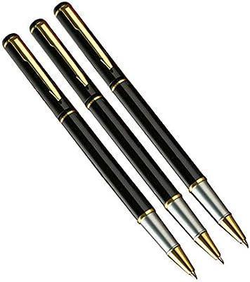 Bolígrafo de bolígrafo de gel clásico de acero inoxidable cromado, bolígrafo de punta redonda, en caja