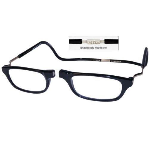 CliC +1.50 Diopter Magnetic Reading Glasses: Expandable - Black by MAGNIFYING AIDS