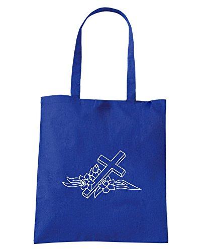 T-Shirtshock - Bolsa para la compra FUN1097 cross decal 5 92410 Azul Real
