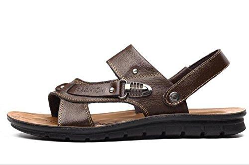 Pelle YCMDM c'è di nuovo estate fibbia in metallo Men Casual Shoes Pelle bovina sandali della spiaggia Pantofole , brown , 41