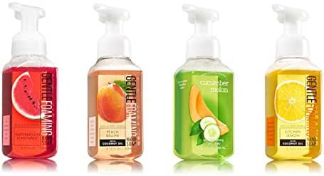 Bath and Body Works Summer Collection 4 Pack - Watermelon Lemonade + Peach Bellini + Cucumber Melon + Kitchen Lemon Foaming Hand Soaps