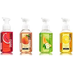 Bath and Body Works Summer Collection 4 Pack --- Watermelon Lemonade + Peach Bellini + Cucumber Melon + Kitchen Lemon Foaming Hand Soaps