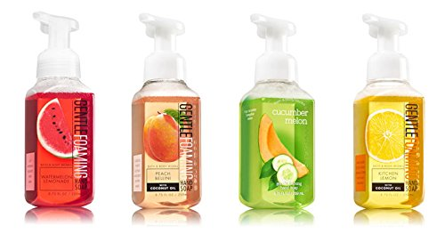Bath and Body Works Summer Collection 4 Pack --- Watermelon Lemonade + Peach Bellini + Cucumber Melon + Kitchen Lemon Foaming Hand Soaps ()
