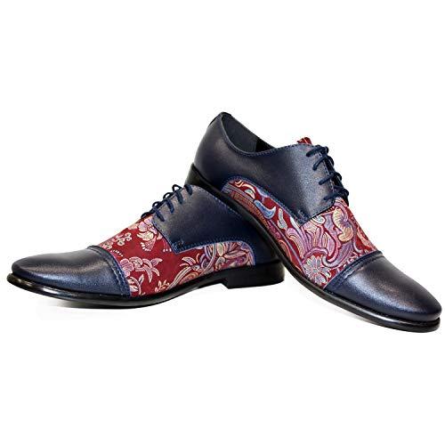 Modello Decorativo - Handmade Italiano da Uomo in Pelle Colorato Scarpe da Sera - Vacchetta Pelle di Brevetto - Allacciare