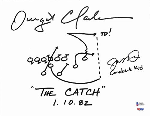 Joe Montana & Dwight Clark Signed Hand Drawn 'The Catch' Play Canvas BAS #G31086