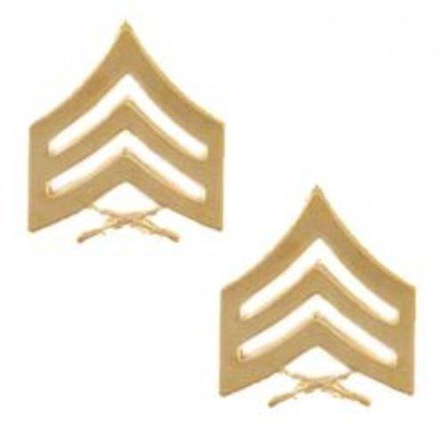 Marine Corps Collar Device (Marine Corps Sergeant 22K Gold Finish Collar Device Rank Insignia Pair)