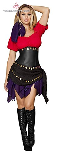 Roma Costume Five Piece Seductive Gypsy Bundle with Pink Shorts