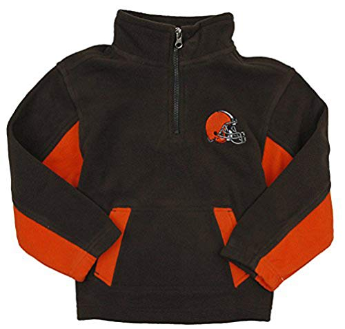 Outerstuff Cleveland Browns NFL Little Boys 1/4 Zip Micro Fleece Sweater, Brown