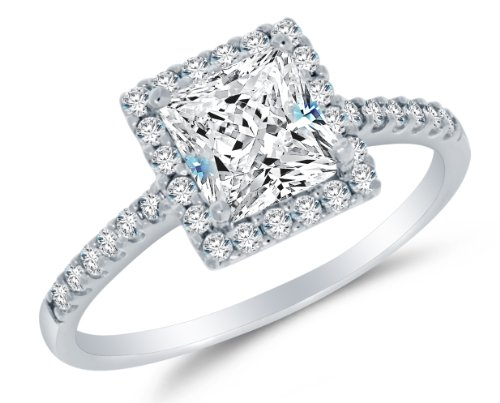 Size 8 - Solid 14k White Gold Highest Quality CZ Cubic Zirconia Halo Engagement Ring - Princess Cut Solitaire with Round Side Stones (1.75cttw., 1.0ct. Center)