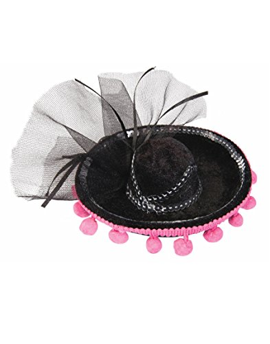 Womens Day Of The Dead Black Mini Sombrero With Pink Pom Poms Costume Accessory]()