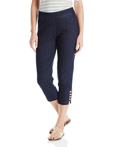 Capri Slim Jeans - SLIM-SATION Women's Petite Size Pull On Solid Corp with Real Front & Back Pockets & Straps, Denim, 14