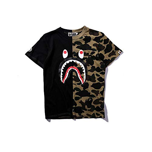 (Casual Fashion Crewneck T Shirt Camo Tees Unisex Pullover Tops (Black,)