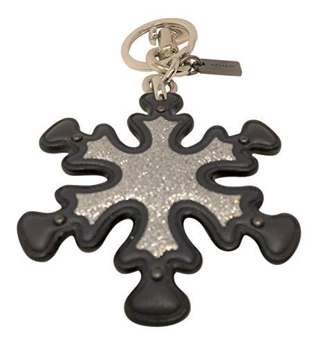 Coach Silver Charm - Coach Glitter Snowflake Bag Charm Key Chain Midnight Silver F35127