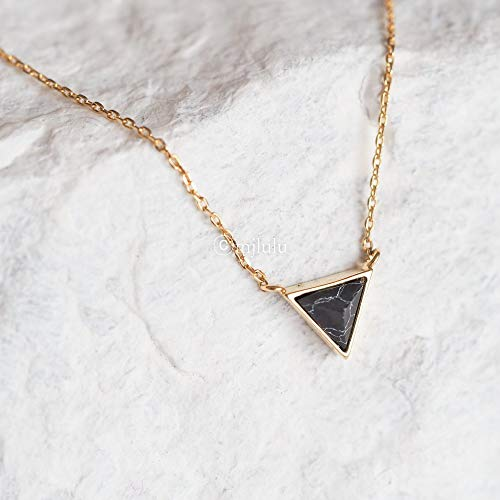 Pendant Stone Inverted (Tiny Inverted Black Simulated Howlite Stone Triangle Necklace)