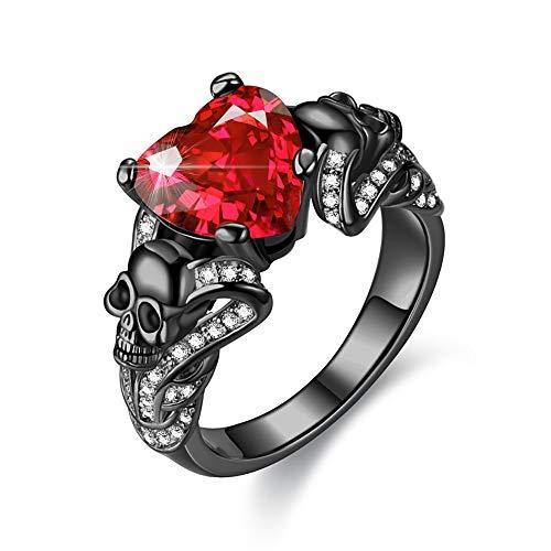 YANLNER925 Gothic Black Skull Rings Red Crystal Ring Rings for Women (Rose - White, 7)