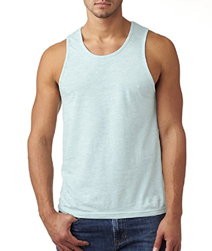 Next Level Men's Rib-Knit Sublimated Muscle Tank Top, Small, Ice Blue