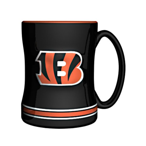 NFL Cincinnati Bengals Sculpted Relief Mug, 14-ounce, Black