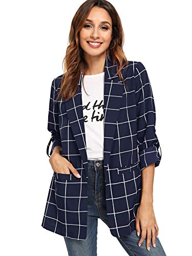 - Milumia Women's Ofiice Open Front Blazer Casual Jacket Plaid Workwear Top Navy L