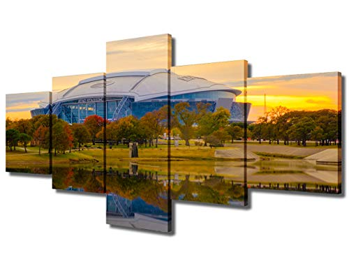 TUMOVO AT&T Football Stadium Wall Art for Living Room Dallas Modern Home Decor Canvas Arlington Pictures Texas House Decorations USA Artwork Paitings 3 Panel Framed Ready to Hang(50''Wx24''H)