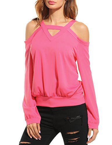 Zeagoo Womens Causal Long Sleeve Shoulder Cut Out Tops V Neck Halter Blouse Shirts,Watermelon Red,Small