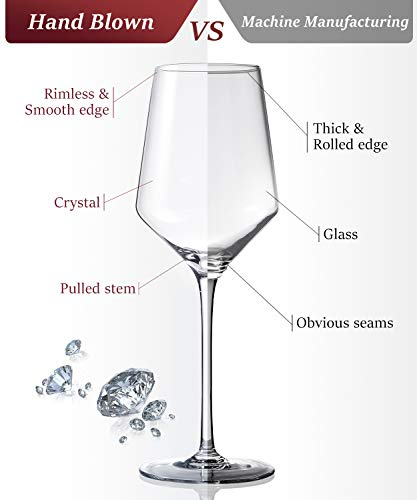 Red Wine Glasses Crystal Set of 4- Premium Crystal Wine Glasses Hand Blown-15 oz,Thin Rim,Long Stem,Perfect for Red or… |