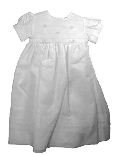 立即购买! Christening Day Girls' White Organza Overlay Gown with Sheer Flowers 12M