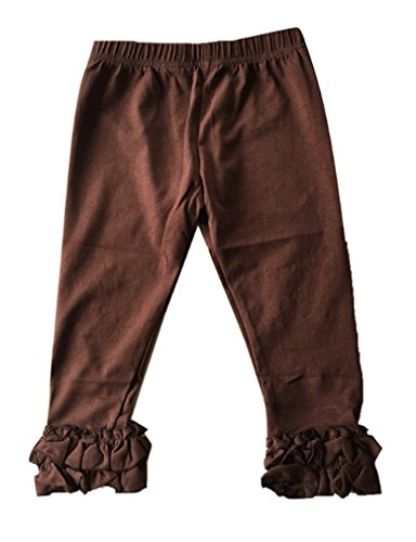 LC Boutique Girls Double Ruffle Pull On Jersey Ankle Pants Sizes 2 to 12 Chocolate