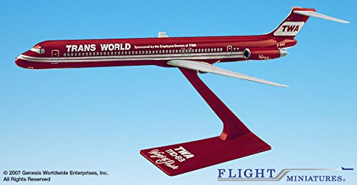 Flight Miniatures TWA Trans World Airlines McDonnell Douglas MD-80 1:200 Scale Display Model with Stand