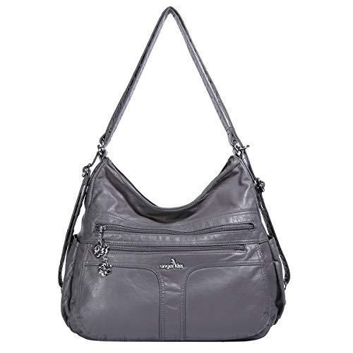 (Angelkiss Women's Multifunctional Shoulder Hobo Bag Soft Leather Messenger Crossbody Purse Satchels Handbags with Zipper Grey)