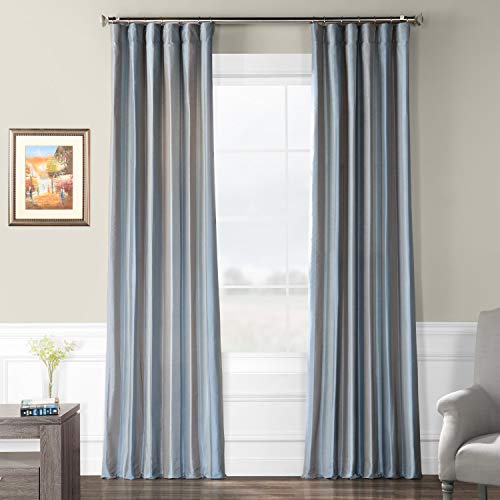 Pts-SLK37-96 Luxury Faux Silk Stripe Curtain, 50 x 96, Eaton