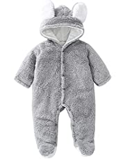 Happy Cherry Snowsuit for Baby Girls Boys Warm Jumpsuit Winter Down Coat Onesie Romper