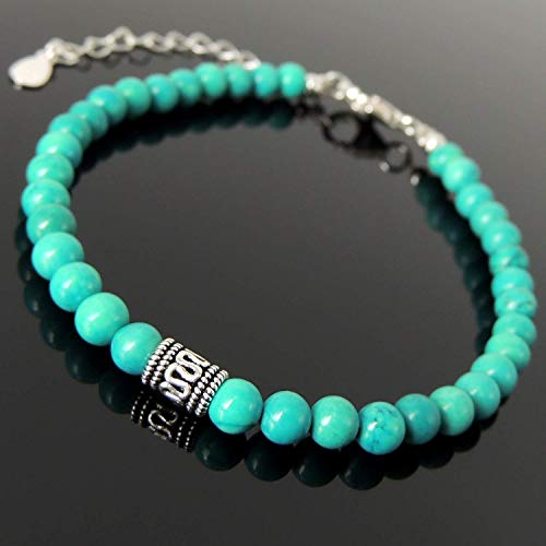 Vintage Inspired Meditation Gemstone Bracelet Healing Blue Turquoise Handmade Jewelry Adjustable Chain, Men's Women's Yoga with 4.2mm Small Beads, S925 Non-plated Sterling Silver Clasp, FREE Gift Box