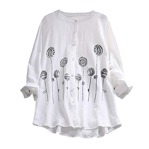 Price comparison product image Pervobs Women T-Shirt,  Clearance! Women Plus Size Loose Long Sleeve Shirt Thin Embroidery Solid Casual T Shirt Top Blouse (18,  White)