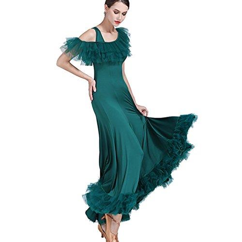 Wqwlf Danse De Valse Pour Sens Dancewear Unique Robe l Performance Sociale Green Pratique Professionnel Salon Costume Femme Épaules SArEqS