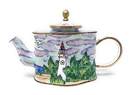Kelvin Chen White Lighthouse Enameled Miniature Teapot, 4.75 Inches Long