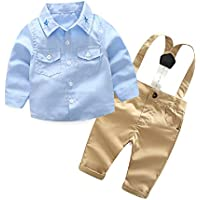 Yilaku Baby Boy Clothes Long Sleeve Shirts + Suspender Pants Set 2pcs Newborn Outfits Clothing
