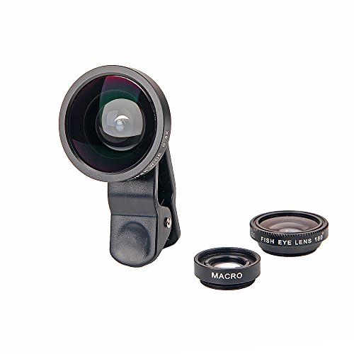 Universal 3 in 1 Clip Fisheye Lens Wide Angle Lens Macro Lens for iPhone 6/6 Plus 5 5s 5c 4S 4 iPod Black(with a Carry Box)