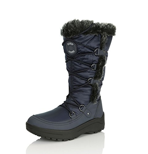Woman's up Snow Water DailyShoes Women's Eskimo Fur High Warm Boots blue Resistant Knee Navy q4xACwB