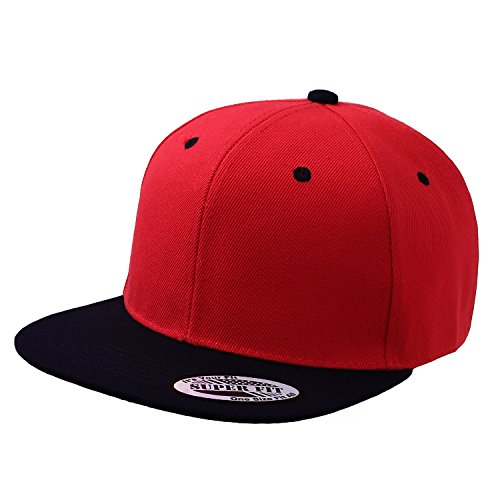 blank-adjustable-flat-bill-plain-snapback-hats-caps-all-colors-one-size-red-black