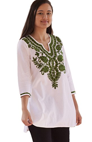Ayurvastram Ivy Pure Cotton Embroidered Tunic, Top, Kurti: Green Emb on White: Sz 2X