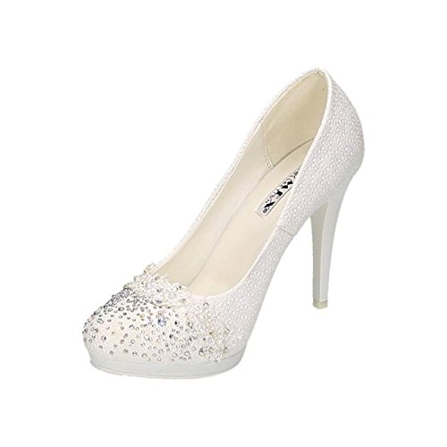 Scarpe Da Sposa Da Donna Scarpe Da Sposa Strass Bianchi Rivetti Stiletti Eleganti Tacchi Alti Scarpe Da Sera Comode Bianco 16