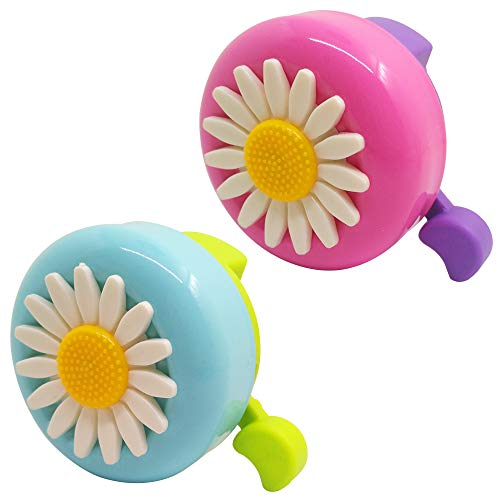 SENHAI 2 Pcs Kids Bicycle Bells, Toddler Bike Bell Accessories Flowers Bike Ring Horn Ringtone Alert for Boy & Girl