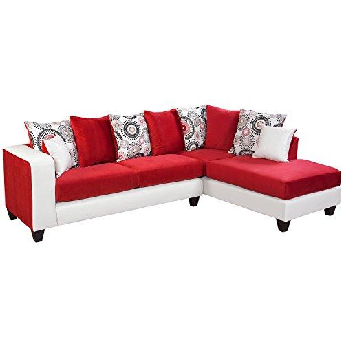 Flash Furniture Riverstone Implosion Velvet Sectional Sofa, Red
