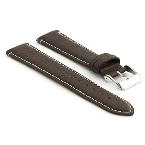StrapsCo Dark Brown Pebbled Leather Watch Strap with White Contour Stitching size 20mm
