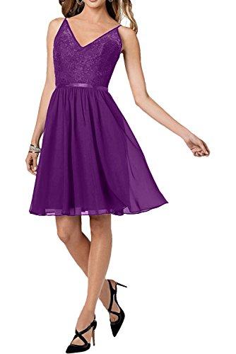Marie Violett Mini Tanzenkleider Glamour Cocktailkleider Braut Dunkel La Spitze Traube Heimkehr Abendkleider BSZBwd