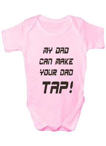 Print4u My Dad Make Your Dad Tap ~ UFC/MMA ~~Babies Gift Boy/Girl Vest 6-12 pink