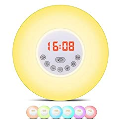 OOLIFENG Alarm Clock, Sunrise Simulation, 6 Natural Sounds FM Radio, Touch Control and Snooze Function