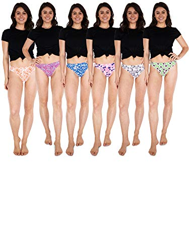 Sexy Basics Women's 6-Pack & 12 Pack Active Sport Thong Panties Underwear (6 Pack- Modern Floral, X-Small)